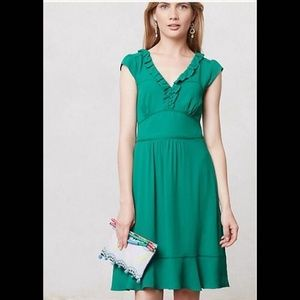 Anthropologie Maeve Size 8 Kelly Green Lined Dress